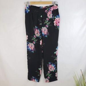 ♦️2/$20 WAYF Black Floral Print Chiffon Pants XS